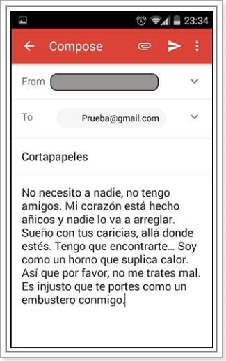 Texto pegado en el móvil